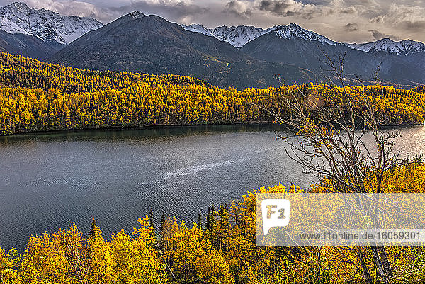 Autumn colours in the Chugach Mountains; Alaska  United States of America