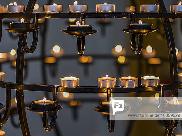Cande lit chandelier in Hallgrimskirkja  a Lutheran parish church in Reykjavik; Reykjavik  Reykjavik  Iceland