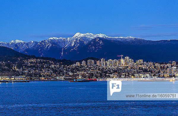 Vancouver at twilight; Vancouver  British Columbia  Canada