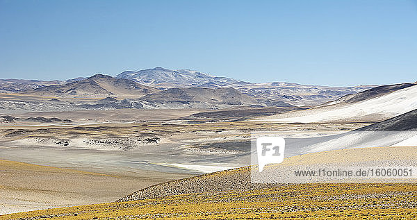 Colourful panoramic landscape of high altitude desert and mountains in the Andes; Antofagasta de la Sierra  Catamarca  Argentina