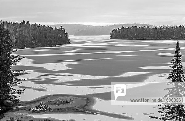 Lake thaw in spring  La Mauricie National Park; Quebec  Canada