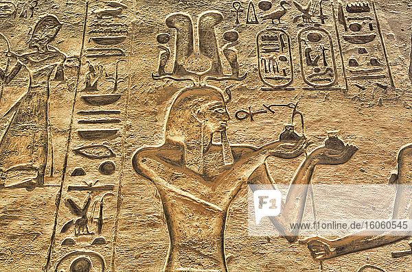 Reliefs  Temple of Hathor and Nefetari  UNESCO World Heritage Site; Abu Simbel  Egypt