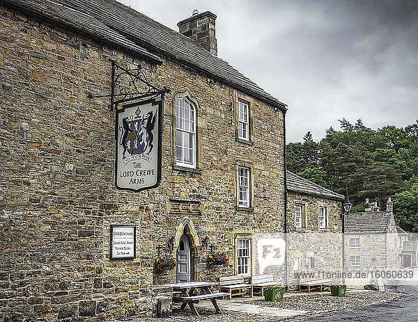 The Lord Crewe Arms Hotel was built in 1165 as an abbot's lodge  with a cloister and guesthouse for visiting clergy; Blanchland  Northumberland  England