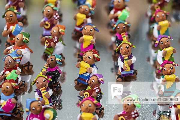 Tilinchos  miniature ceramic figures for sale at Alasitas  a yearly fair where people buy miniature gifts and praise the god of prosperity; Ekeko  La Paz  Bolivia