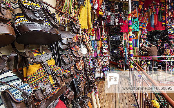 Souvenir shop selling purses  handbags  clothing and textiles; La Paz  La Paz  Bolivia