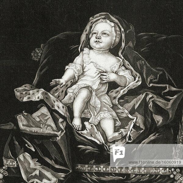 Prinz James Francis Edward Stuart  1688 - 1766. Anspruchsberechtigter für die englische  schottische und irische Krone. Bekannt als der alte Heuchler. Hier als Kind gesehen. Nach einem Stich von Pieter Schenk  nach Gottfried Kneller.