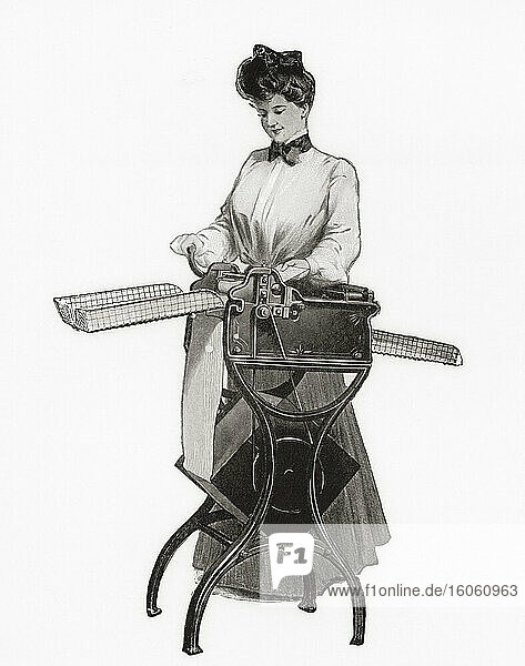 An early 20th century letter-copying machine. From The Business Encyclopaedia and Legal Adviser  published 1907.