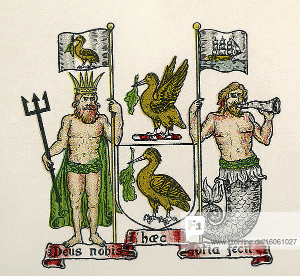 Coat of arms of Liverpool  England. From The Business Encyclopaedia and Legal Adviser  published 1907.