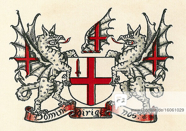 Coat of arms of London  England. From The Business Encyclopaedia and Legal Adviser  published 1907.