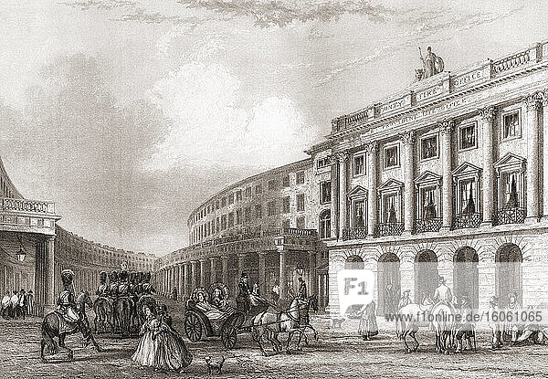 Quadrant  Regent Street  London  England  19th century. From The History of London: Illustrated by Views in London and Westminster  published c.1838.