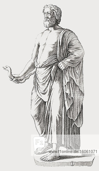 Statue of Asclepius  ancient Greek God of Medicine. After a 17th century engraving by Luca Ciamberlano.