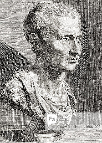 Gaius Julius Caesar  100BC - 44BC. The last dictator of Rome. This engraving by an anonymous artist after a work by Peter Paul Rubens is sometimes identified as being Cicero. The British Museum identifies the subject as Julius Caesar.