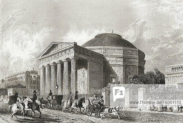 Das Kolosseum  Regent's Park  London  England  19. Jahrhundert. Erbaut  um Thomas Hornors Panoramaansicht von London   das größte je geschaffene Gemälde  auszustellen  wurde es 1874 abgerissen. Aus der Geschichte Londons: Illustriert von Views in London und Westminster  erschienen um 1838.