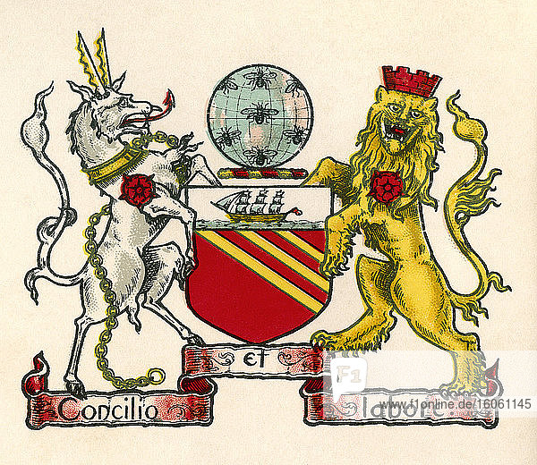 Coat of arms of Manchester  England. From The Business Encyclopaedia and Legal Adviser  published 1907.