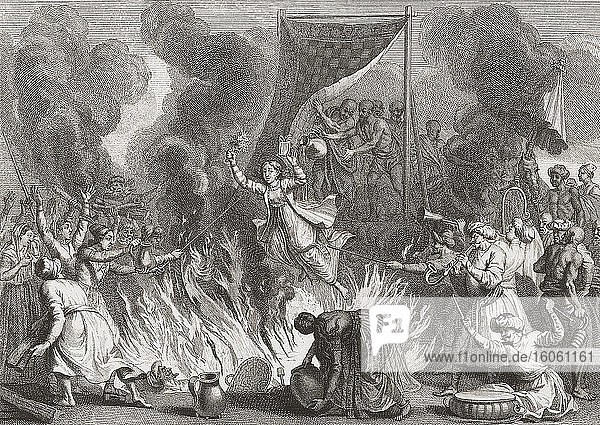 In India  a Hindu woman throws herself into the flames as her husbands body is cremated. The practice of a widow joining her dead husband in death is called Sati or Suttee. A less common form of Sati was for the widow to be buried alive with her dead husband. Sati in any form is now illegal. After an 18th century work by Bernard Picart.