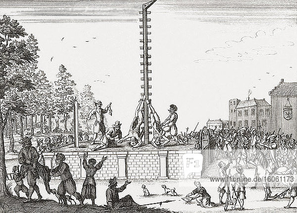 The corpses of Johan and Cornelis de Witt hanging on the gallows at Gevangenpoort in The Hague  Netherlands. The brothers  republicans  were lynched by supporters of William of Orange on August 20  1672. After a 17th century etching by Gaspar Bouttats.