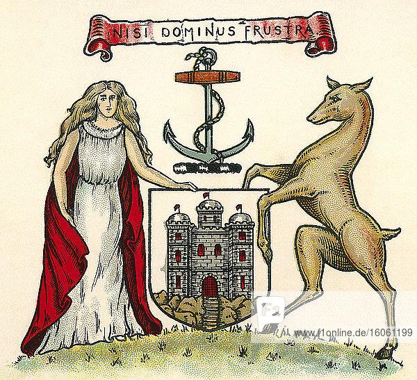 Wappen von Edinburgh  Schottland. Aus The Business Encyclopaedia and Legal Adviser  veröffentlicht 1907.