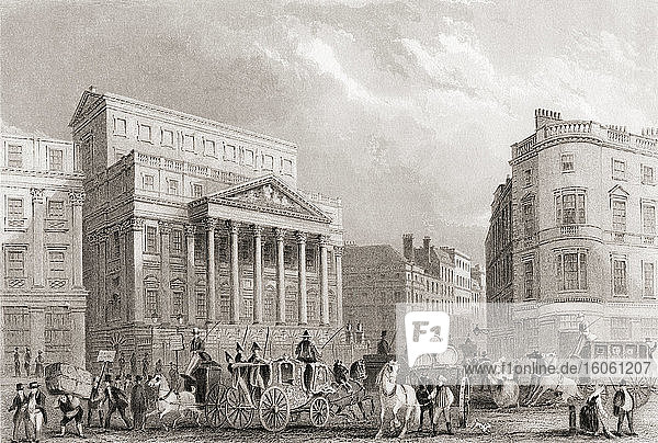 Mansion House  London  England  19th century. From The History of London: Illustrated by Views in London and Westminster  published c.1838.