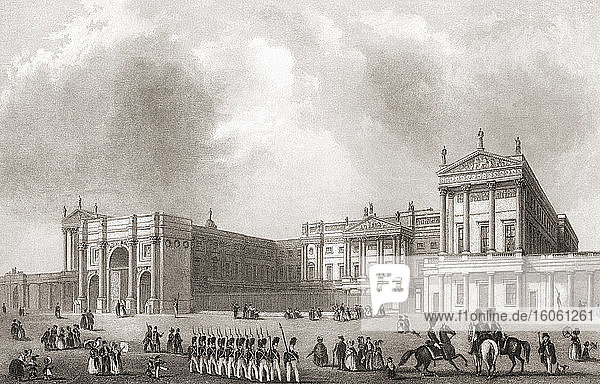 Buckingham Palace  City of Westminster  London  England  19th century. From The History of London: Illustrated by Views in London and Westminster  published c.1838.