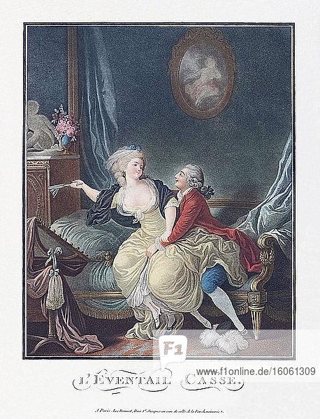 Der gebrochene Fächer. Ein Mann versucht  eine Dame zu verführen. Es sieht so aus  als hätte sie ihn mit ihrem Fächer  der jetzt kaputt ist  abgewehrt. Nach einem Werk aus dem 18. Jahrhundert möglicherweise des französischen Künstlers Charles-Melchior Descourtis  1753 - 1820.