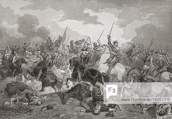 Die Schlacht von Turnhout am 24. Januar 1597 zwischen den Streitkräften Spaniens und einer kombinierten Armee aus England und den Vereinigten Provinzen der Niederlande. Aus einem Druck aus der Mitte des 19. Jahrhunderts von Frederik Christiaan Reckleben  nach einem Werk von Dominicus Anthonius Peduzzi