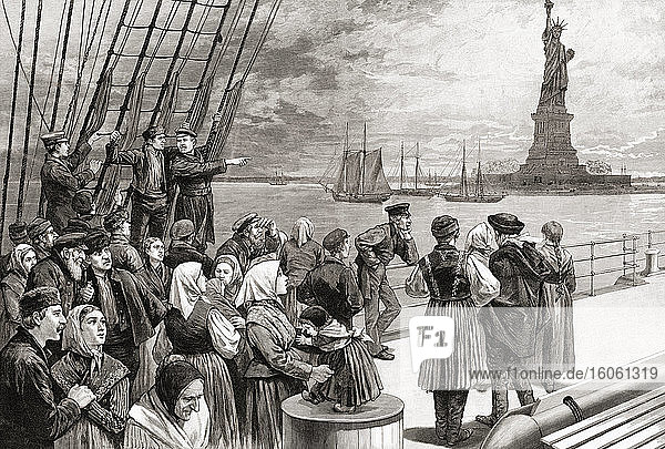 A ship with immigrant passengers of many nationalities passing the Statue of Liberty on Liberty Island in New York harbour  United States of America. After an illustration by an unknown artist in Frank Leslie's illustrated newspaper  July  1887.