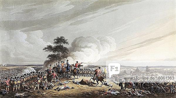 Die Schlacht von Waterloo  18. Juni 1815. Der Herzog von Wellington blickt auf den Hof von Hougoumont. Nach einem anonymen Künstler. Veröffentlicht in London  1816