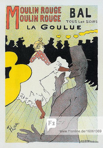 La Goulue und Valentin la Desossee beim Tanzen im Moulin Rouge. Plakat von Henri de Toulouse-Lautrec aus dem Jahr 1891. Henri de Toulouse-Lautrec  französischer Künstler  1864-1901. La Goulue war der Künstlername der Moulin-Rouge-Tänzerin Louise Weber. Valentin la Desossee war der Künstlername von Jaques Renaudin  von dem man annimmt  dass er tagsüber eine Vollzeitbeschäftigung ausübte  aber nachts im Moulin Rouge tanzte.