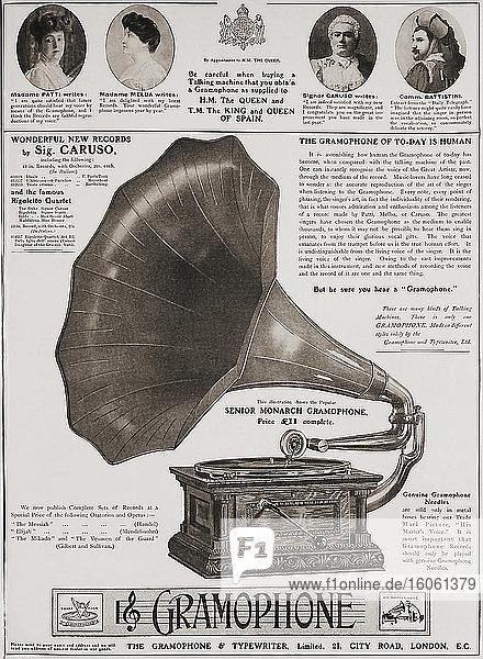 Anzeige für The Gramophone Comany in der Juni-Ausgabe 1907 von The Graphic  einer wöchentlich erscheinenden illustrierten Zeitung  die von 1869 bis 1932 in London erschien.