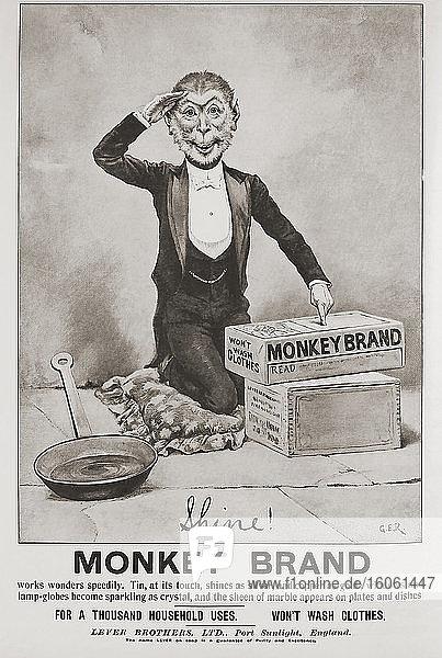 Anzeige für Monkey Brand-Metallreiniger in der März-Ausgabe 1907 von The Graphic  einer wöchentlich erscheinenden illustrierten Zeitung  die von 1869 bis 1932 in London erschien.