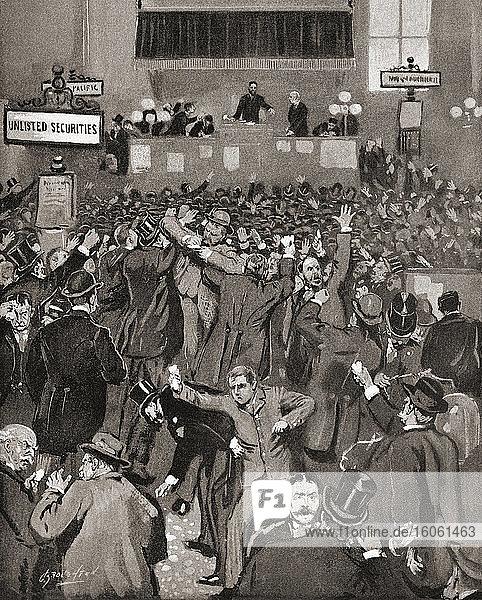Panik an der New Yorker Börse im Mai 1893. Eine wirtschaftliche Depression  die von 1893 bis 1897 andauerte  wurde als die Panik von 1893 bekannt. Nach einer Illustration von Charles Broughton in Frank Leslie's Illustrated Newspaper  Mai 18  1893.