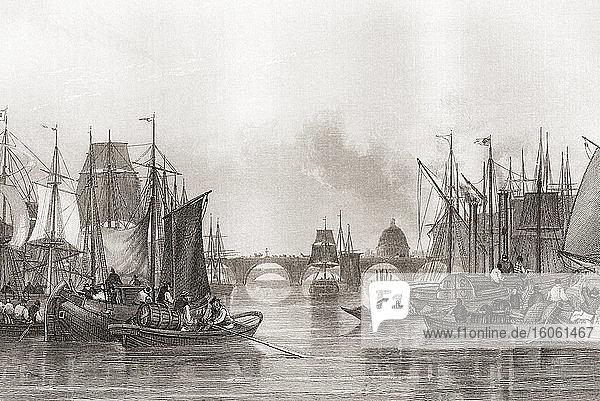 The Upper Pool  Pool of London  Themse  London  England  19. Jahrhundert. Aus der Geschichte Londons: Illustriert von Views in London und Westminster  erschienen um 1838.