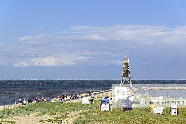 Kugelbake  ehemaliges Seezeichen an Elbe und Nordsee  Wahrzeichen von Cuxhaven  Niedersachsen  Deutschland  Europa