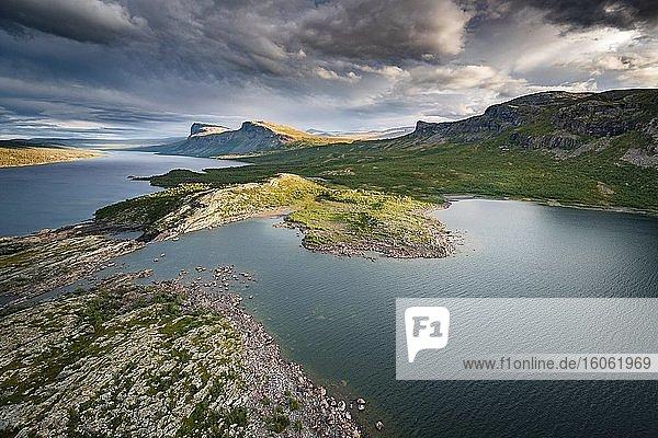 Luftaufnahme  Sarek Nationalpark  Laponia  UNESCO Schutzgebiet  Gällivare  Norrbottens län  Schweden  Europa