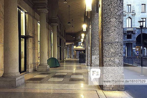 Italy  Lombardy  Milan  Piazza Meda  homeless