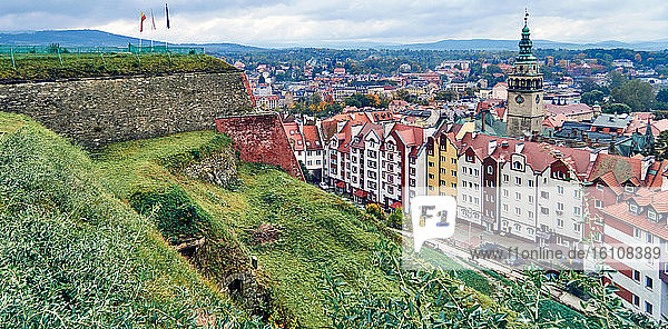 Poland. Lower Silesian  Voivodeship Old tenements and a fragment of the fortress Klodzko wall and View of the city Klodzko from the fortress  and  City Hall with Renaissance Tower