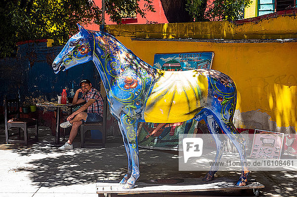 Buenos Aires  Argentina  La Boca district  a decorated wooden hoerse and a tourist relaxing in Caminito street