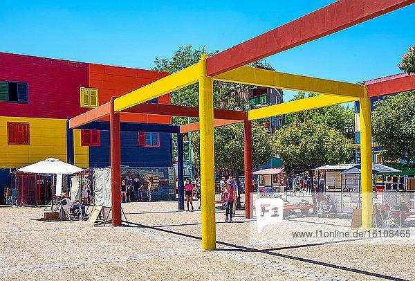 Buenos Aires  Argentina  La Boca district  tourists in Caminito square