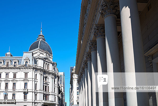 Buenos Aires  Argentina  classical buildings in the city center  with the front colonnade of the Cathedral on the righ