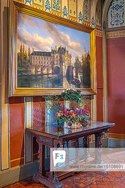 Chenonceaux  France  A painting of the 19th century of the Chenonceau castle in the Second Floor Hall