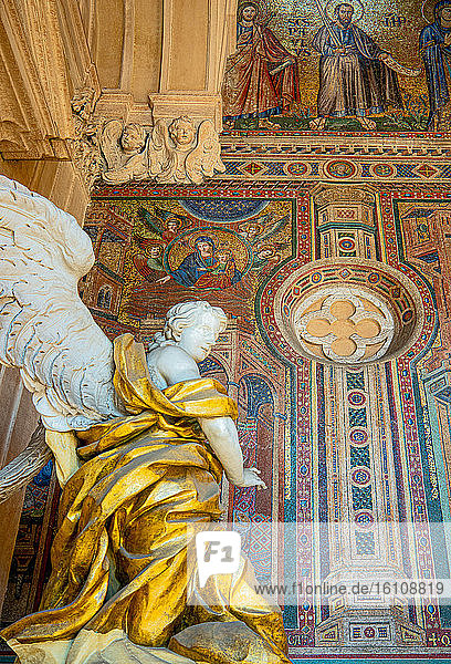 Rome  Italy  Staatues of angels and mosaics in the loggia of Santa Maria Maggiore Basilica