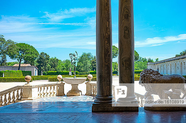 Rome  Italy  Academy of France  Villa Medici  a balcony overlooking the garden with a statue of Mercury in the foreground