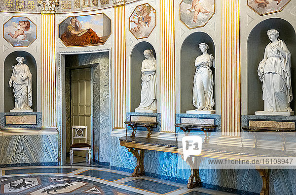 Rome  Italy  Villa Torlonia  the Roman style statues of the Hall of Alessandro Il Macedone