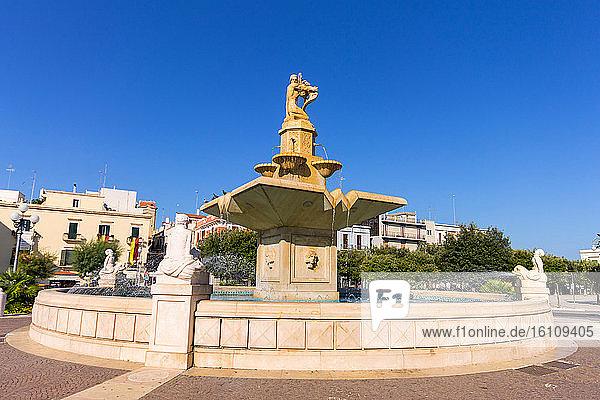 Italy  Apulia  Mola di Bari  fountain in Piazza XX settembre.