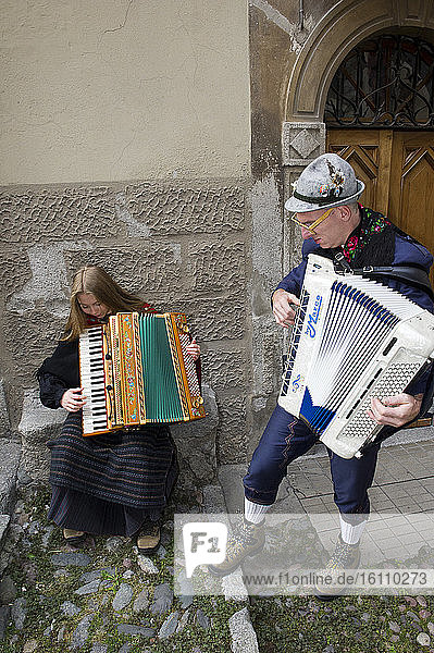 Italy  Lombardy  Brescia  Bagolino  Valsabbia. Crafts of peasant life of the twentieth century. accordion players