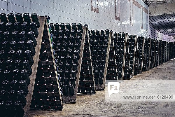 Storage room with wine bottles during production prcess called riddling in famous Cricova winery in Cricova town near Chisinau  capital of Moldova. Storage room with wine bottles during production prcess called riddling in famous Cricova winery in Cricova town near Chisinau, capital of Moldova.