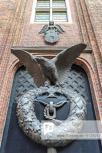 Eagle on a monument of Polish Balloon Corps on a courtyard of Gothic Old Town City Hall in Torun city  Kuyavian Pomeranian Voivodeship of Poland.