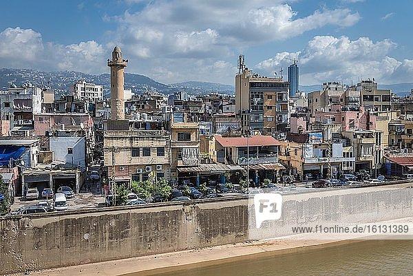 Sin el Fil suburb seen from Yerevan bridge over Beirut River  Lebanon.