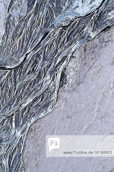 Fluss-Strukturen  Vatnajökull Gletscher  Island  Europa