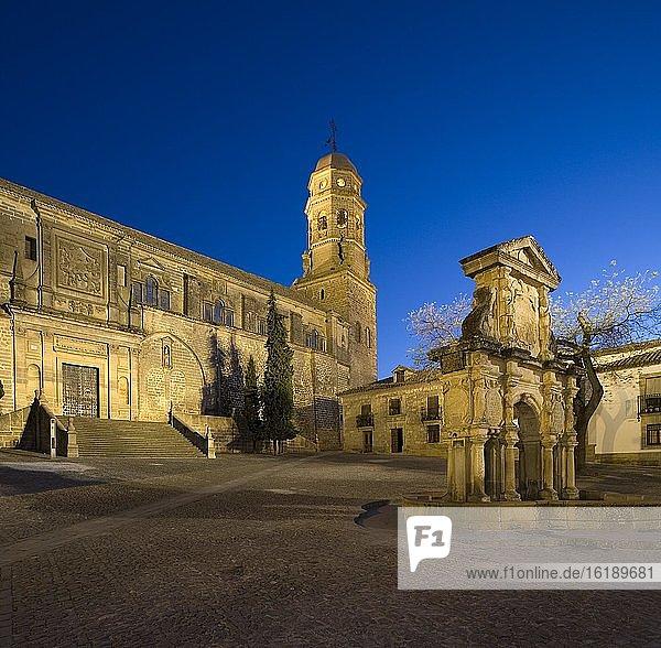 Marienbrunnen und Kathedrale von Baeza  Provinz Jaen  Spanien  Europa